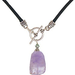 Misha Curtis Amethyst Pendant with genuine leather cord