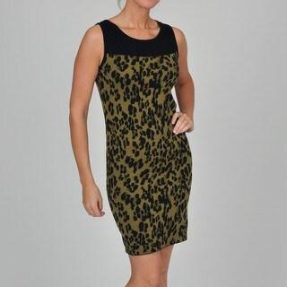 Adrienne Vittadini Women's Sleeveless Leopard Jacquard Dress