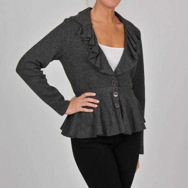 Grace Elements Women's Grey Wool Ruffle-collar Peplum Jacket