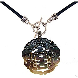 Misha Curtis Silver Abolone 'Joy' Leather Necklace