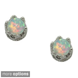 Tiara Collection Sterling Silver Children's 4mm Gemstone Crown Earrings