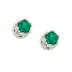 Simulated Emerald Crown Stud Earrings