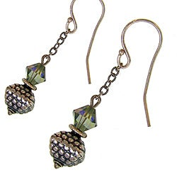 Misha Curtis Sterling Silver Irridescent Crystal Bali Bead Earr