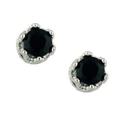 High-polish Sterling Silver Round-cut Black Onyx Crown Stud Earrings