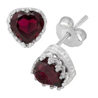 Gioelli Garnet Heart Earrings