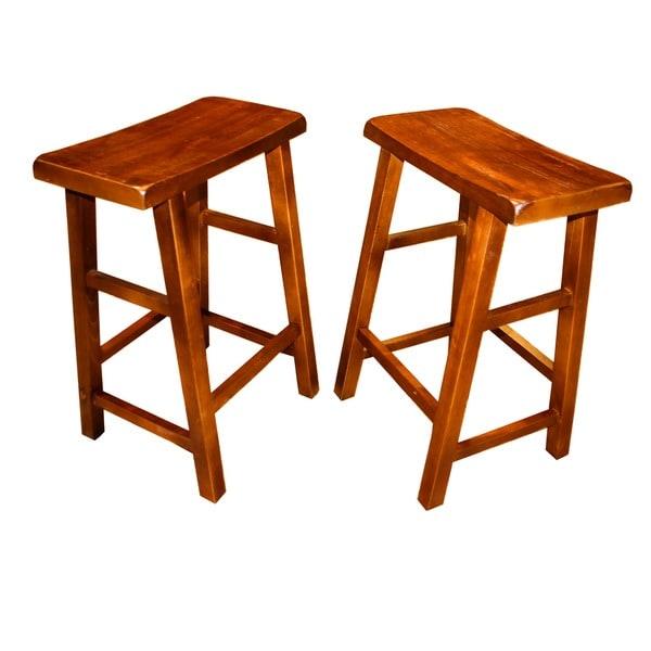 Set Of 2 Wood High Saddle Seat 29-inch Stool (China