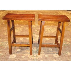 Set of 2 Wood High Saddle Seat 29-inch Stool (China)
