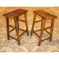 Set of 2 Wood High Saddle Seat 29-inch Stool (China)