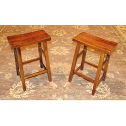 Set of Two Walnut Wood 24-inch Handmade Saddle Seat Stools (China)