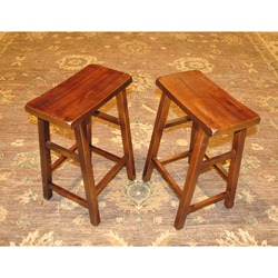 Set of Two Walnut Wood 24-inch Handmade Saddle Seat Stools (China)
