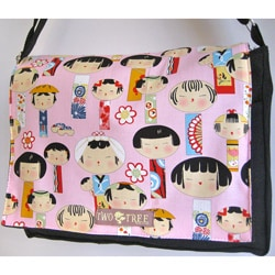 Handmade Medium Black Japanese Kokeshi Doll Messenger Bag