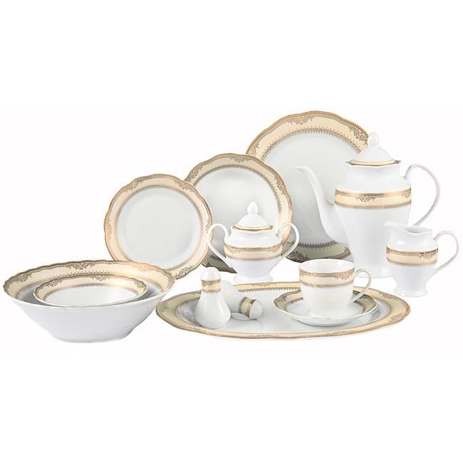 Lorenzo Isabella Porcelain 57 pc Dinnerware Set (Gold Border)