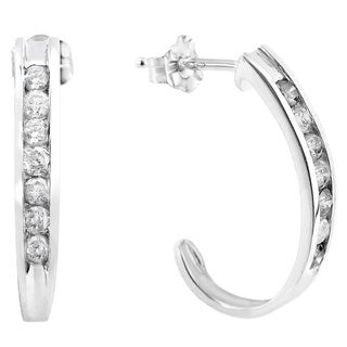 Auriya 14k Gold 1/2ct TDW Diamond J Hoop Earrings (I-J, I1-I2)