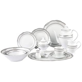 Lorenzo Victoria Porcelain 57pc Dinnerware Set (Silver Border)