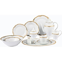 Lorenzo Catherine Porcelain 57 pc Dinnerware Set (Gold Border)