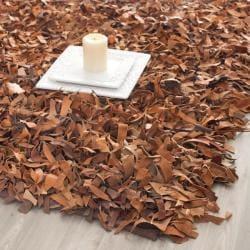 Handmade Brown Medley Leather Metro Shag (6' Square)