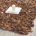Safavieh Handmade Brown Medley Leather Metro Shag (8' x 10')