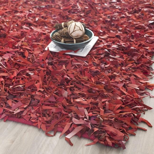 Safavieh Handmade Red Leather Metro Shag (8' x 10')