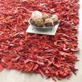 Safavieh Handmade Red Leather Metro Shag (2'3 x 4')