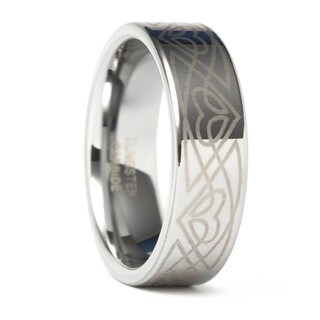 Men's Tungsten Carbide Laser-etched Polished Flat Edged Band (8 mm)