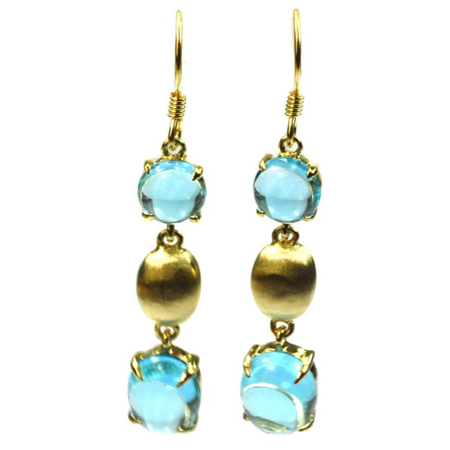 De Buman Sterling Silver Swiss Blue Topaz Earrings