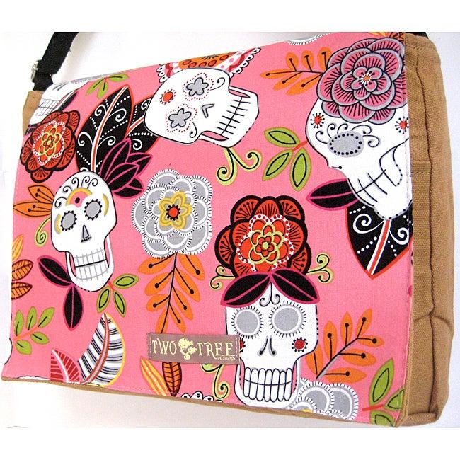 Handmade Medium Tan Flower Sugar Skulls Messenger Bag