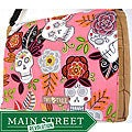 Handmade Medium Tan Flower Sugar Skulls Messenger Bag