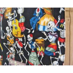 Handmade Medium Tan Dancing Skeletons Messenger Bag