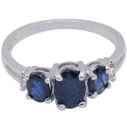 De Buman Sterling Silver Triple-sapphire and White Topaz Ring