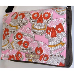 Handmade Medium Brown Sugar Skulls Messenger Bag