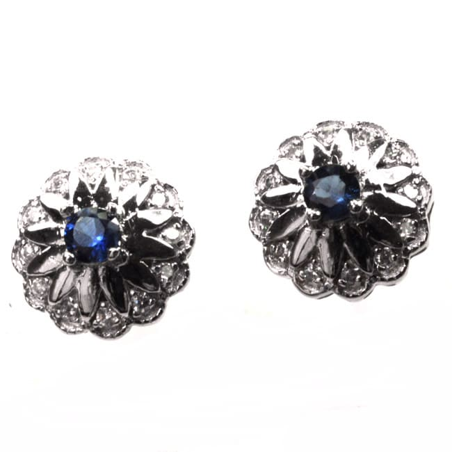 De Buman Sterling Silver Sapphire and Zircon Earrings