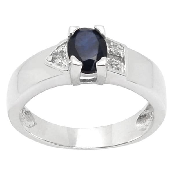 De Buman Sterling Silver Sapphire and White Topaz Ring (Size 7)