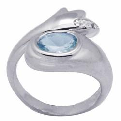 De Buman Sterling Silver Oval Aquamarine and White Topaz Ring