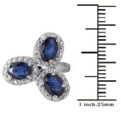 De Buman Sterling Silver Blue Sapphire Ring