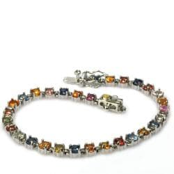 De Buman 18k Yellow Gold and Silver Colorful Sapphire Bracelet