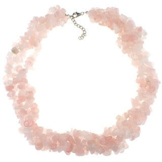 Pearlz Ocean Rose Quartz Chip Necklace