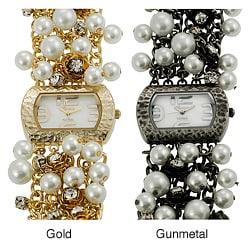 Geneva Platinum Women's Rhinestone Rose and Faux Pearl Watch