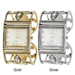 Geneva Platinum Women's Rhinestone Fleur de Lys Hinged Cuff Watch
