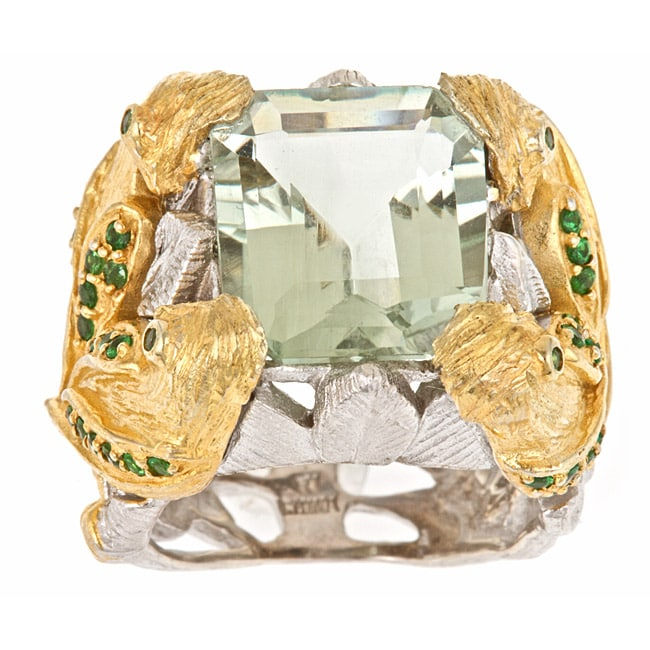 D'Yach 18k Gold Vermeil and Sterling Silver Green Amethyst and Tsavorite Ring