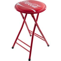 Coca-Cola 24-inch Red Folding Stool with Coke Ribbon Logo