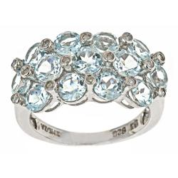 D'Yach Sterling Silver Aquamarine and Cubic Zirconia Ring