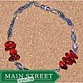 Susen Foster Men's Silvertone Red Amber 'Ruby Tuesday' Bracelet