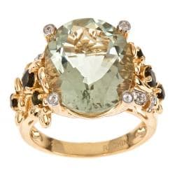 D'Yach 18k Gold and Silver Prasiolite, Tourmaline and Cubic Zirconia Ring