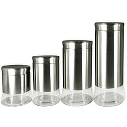 Stainless Steel and Glass 4 piece Canister Set