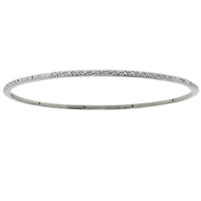 Thin Silvertone Diamond Bangle