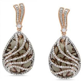 Miadora Pink Silver Quartz and 1/4ct TDW Diamond Earrings (G-H, I2-I3)