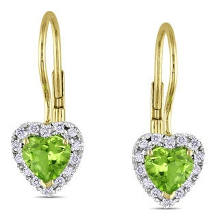 Miadora 10k Yellow Gold Peridot and 1/7ct TDW Diamond Heart Earrings (G-H, I2-3)