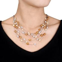Freshwater Rice Pearl 7-Row Necklace (6-6.5 mm)