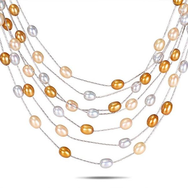 Miadora Freshwater Rice Pearl 7-Row Necklace (6-6.5 mm)