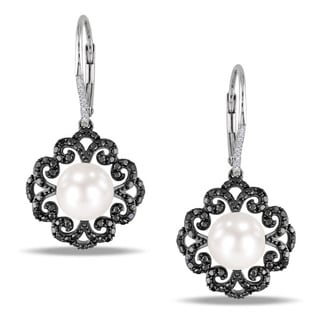 Miadora Sterling Silver 1/3ct TDW Black and White Diamond Pearl Earrings (9-9.5 mm)(G-H)